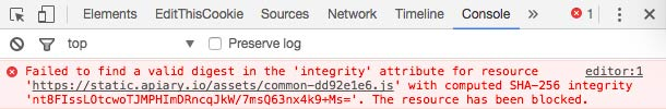Failed Subresource Integrity check in Chrome